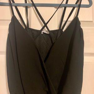 Tobi Tops - Tobi small black strappy wrap bodysuit